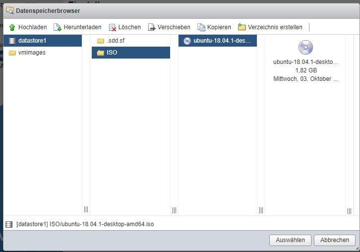 ISO fuer VM Auswählen