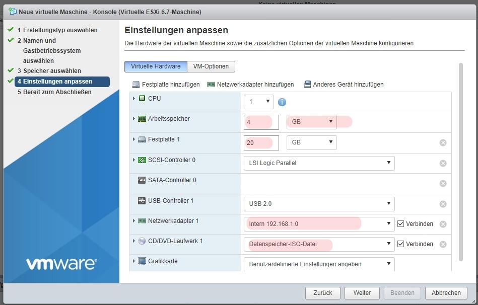 Step 4 VM Systemeinstellungen
